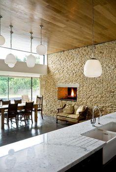 FURZEY Hall Farm MS Building & Renovation ltd Cotswold stone barn conversion lights, kitchen, stone, horizontal window