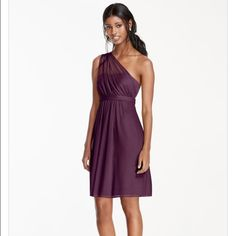 David's Bridal Plum Dress Worn once - like new - style F15607 - size 12 David's Bridal Dresses One Shoulder