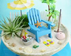 "Beach Planter ~ Gorgeous 10"" Bowl ~ Beach House Decor ~ 2 Air plants ~ Office planter ~ Beach Escape ~ Centerpiece ~ Gift Idea"