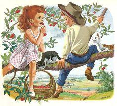 Marcel Marlier illustration My favorite page, we hung cherries on our ears all the time.Brings back my childhood memories! Marcel, Photo Vintage, Vintage Images, Children's Book Illustration, Graphic Design Illustration, Art Asiatique, Boy Pictures, Retro Art, Vintage Children