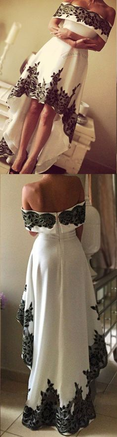 Gorgeous High Low Prom Dresses,Lace Formal Prom Dresses,White And Black Prom Dresses,Off The Shoulder Prom Dresses,Cheap Long Prom Dresses
