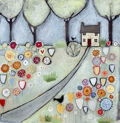 Woodland Cottage Original by Louise Rawlings *SOLD*  -  The Acorn Gallery