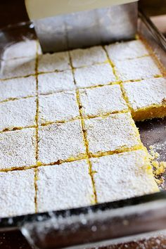 Lemon Bars! Just the way I like 'em---with a thick cookie-like crust. (Tip: Slice 'em with a bench scraper!)