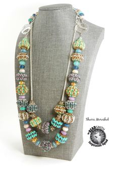 A Double Beaded Bead necklace by Sharri Moroshok.