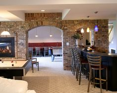 Contemporary Basement Design, Pictures, Remodel, Decor and Ideas - page 7 Interior Design With Brick Walls, Basement Inspiration, Man Cave Home Bar, Basement Remodeling, Basement Ideas, Basement Layout, Basement Plans, Exposed Brick, Bars For Home