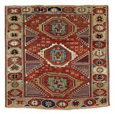 Lot 35, a Bergama village rug, West Anatolia, 180 x 180 cm, early 19th century. Antique tribal rugs at Rippon Boswell 30 November