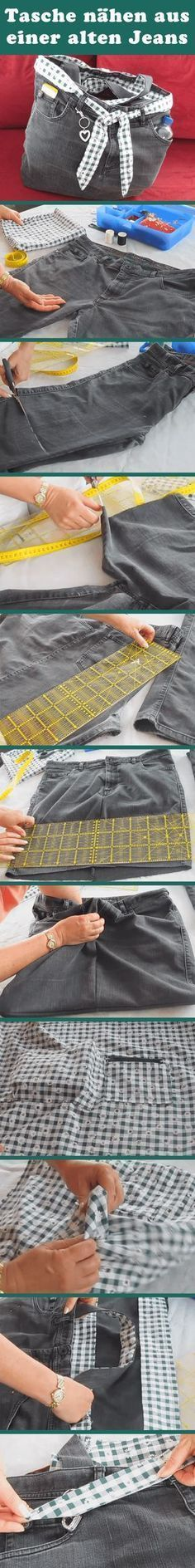Excellent Absolutely Free You can sew an original bag from an old Jenas. - Pinspace Strategies I love Jeans ! And a lot more I love to sew my own, personal Jeans. Next Jeans Sew Along I am plan Diy Jeans, Recycle Jeans, Diy Sac, Jean Crafts, Old Clothes, Unique Bags, Upcycled Crafts, Upcycled Clothing, Denim Bag