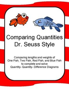 Seventeen Problems comparing lengths and weights ofOne Fish, Two Fish, Red Fish, and Blue Fish to complete and solveQuantity- Quantity- Difference Diagrams.  This is inspired by the work of Dr. Seuss in honor of Read Across America Day!