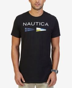 Nautica Men's Big & Tall Graphic Print Flag Logo T-Shirt - Black 4XLT