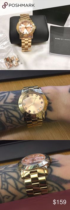 Marc Jacobs like-new Watch Glitz with gift box Amy like-new, comes with box, extra links, and manual. gorgeous bezel-set opal stones on face. zero scratches, brand new battery! perfect xmas gift. Marc By Marc Jacobs Accessories Watches