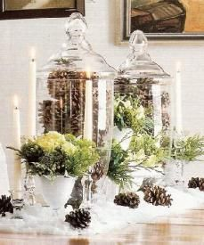 Pine cones in apothecary jars. I'm so going to do this next Christmas