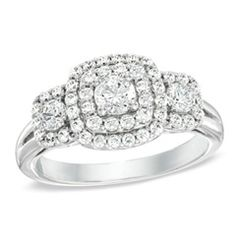 1 CT. T.W. Diamond Double Frame Three Stone Ring in 10K White Gold - Zales