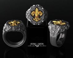"The ""Vollmacht Quarter"" Fleur De Lis power ring. Perfection. www.DeMerJewelry.com Facebook.com/DeMerJewelry Twitter.com/DeMerJewelry"