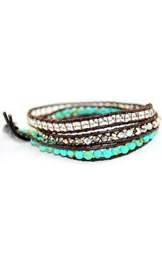 Turquoise Boho Wrap Bracelet //