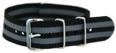 20mm James Bond Black - Nylon Nato Ballistic Military Watch Band Strap G-10 Clockwork Synergy, LLC. $11.95. 20mm Nylon Nato Ballistic Military Watch Band Strap. 100% stainless Steel hardware. Military use or everyday Fasion!. Water Resistant for Divers. James Bond Black / Grey. Save 52%!