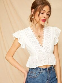Check out this Contrast Lace Eyelet Embroidered Peplum Blouse on Shein and explore more to meet your fashion needs! Peplum Blouse, Best Jeans, Embroidered Lace, Eyelet Lace, Floral Lace, Pulls, Types Of Sleeves, Blouse Designs, Blouses For Women