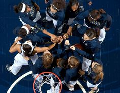 That moment when you feel like family. | The Notre Dame women's basketball team huddle up against Purdue. The fighting Irish won 89 - 44.