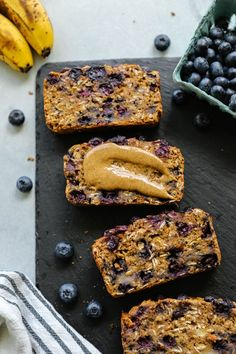 breakfast bread with hearty oats banana almond butter and lots of blueberries. Gluten-free oil-free and refined sugar free. Gluten Free Recipes, Gourmet Recipes, Whole Food Recipes, Vegan Recipes Hearty, Banana Bread Recipes, Healthy Breakfast Recipes, Vegan Gluten Free Breakfast, Blueberry Breakfast, Blueberry Bread