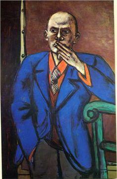 Self-Portrait in Blue Jacket, 1950  Max Beckmann