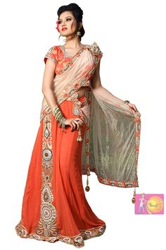 Alluring Orange color sequence work with Heavy Embroidery Lehenga Choli