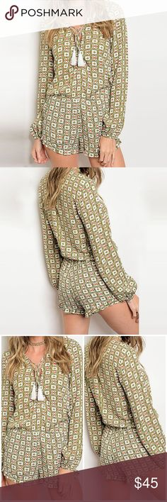 "Long Sleeve Olive Bohemian Romper ❤️ BUNDLES ❌ NO TRADES ❌ NO Low balling!  • Side Pockets • 100% Rayon  * MEASUREMENTS: • SMALL: - Length: 27"" Approx - Waist (@ non-stretch point):24"" Approx. - Waist (Max Stretch point) 26"" Approx. - Bust: 34.5"" Approx • • MEDIUM: - Length: 28"" Approx - Waist (@ non-stretch point):26"" Approx. - Waist (Max Stretch point) 28"" Approx. - Bust: 36.15"" Approx • • LARGE: - Length: 29"" Approx - Waist (@ non-stretch point):28"" Approx. - Waist (Max Stretch point) 30""…"