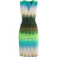 Jonathan Saunders Romina ombré spot-print dress (605 BAM) ❤ liked on Polyvore featuring dresses, vestidos, ombre dress, brown sleeveless dress, polka dot dress, brown fitted dress and dot dress