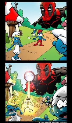 Deadpool vs Smurfs