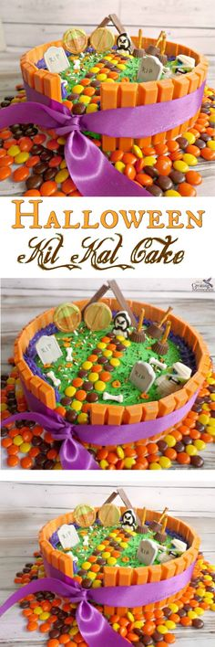Need something fun for your Halloween Party? Create this fun Halloween Kit Kat Cake! Simple to put together and your little Ghouls and Ghosts will love it! Great way to use up left over Halloween Candy as well!