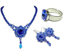 Parure précieuse créateur bleu saphir collier boucles d'oreilles bague haute couture : Parure par bijouxdart