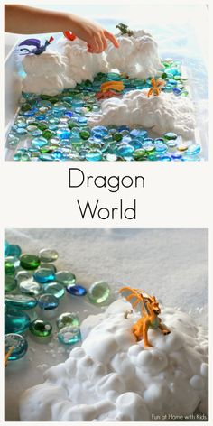 Fun at Home with Kids: Simple Small Worlds: Dragon World Sensory Bins, Sensory Activities, Sensory Play, Preschool Activities, Sensory Table, Nursery Activities, Space Activities, St Georges Day, Small World Play