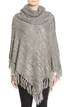 Woven Heart Fringe Cowl Neck Poncho available at #Nordstrom