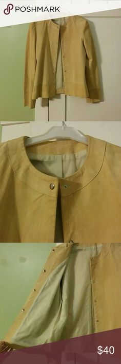 Vintage Camel Colored Suede Jacket Suede jacket with a crew collar and invisible snaps. Fully lined and comfy! Vintage, but in stunningly good condition. Jackets & Coats Blazers