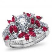 Porrati, Siena Collection, 14K White Gold Diamond Bridal Set, 3/8 ctw with CZ center.