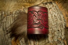Red Antiquated leather rose bracer by PrimitveDesigns on Etsy