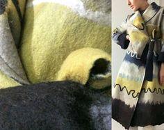 Women coat, Felted coat,  Jacket, Hand made, Clothing, Black  Green  Blue, Wearable art, Nuno felted, Designer,  Eco-fashion, Wool Coat