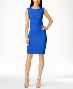 Calvin Klein Textured Sheath Dress. That dress is made with the same material than the one you had showed me.  Comes in orange and hot pink.