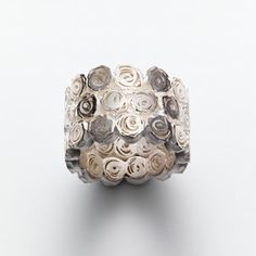 Ring | Petra Dömling. 'roses'. Oxidized and sterling silver.