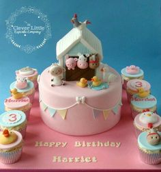 Farm animal birthday cake and cupcakes