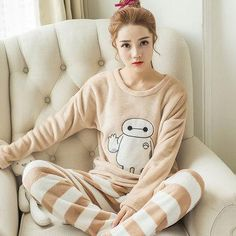 1506cfaa4f QWEEK Flannel Women Sleepwear Winter Female Pajamas Sets Thick Warm Female  Suit Long Sleeve Pyjamas Women Velvet Home Clothes