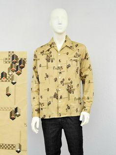 Vintage 70s Polyester Tan and Brown Disco Shirt, Geometric Print, Mens Retro Shirt, Butterfly Collar, Big Collar, Long Sleeve Size L