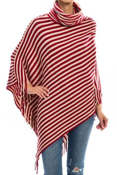 Red & Ivory Striped Poncho – InStyle Auctions & Boutique