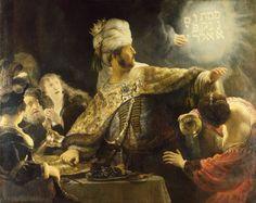 """Gewogen en te licht bevonden.   Rembrandt schilderde """"Belsazars feest"""" in 1635."""