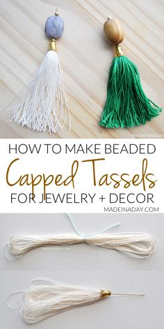 How to Make Capped Tassels - Jewelry - Ideas of Jewelry - Simple tutorial to make capped tassels with beads attached for tassel necklaces key chains decor and more. Beaded Tassel Necklace, Tassel Jewelry, Beaded Jewelry, Old Jewelry, Jewelry Making Beads, Jewellery Box, Wire Jewelry, How To Make Tassels, How To Make Beads
