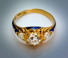 Antique Engagement Ring 1851   Three Stone Diamond Ring with Blue Enamel - Antique Jewelry   Vintage Rings   Faberge Eggs
