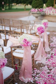 Photographer: LisaAnne Photography; Romantic outdoor pink floral decor wedding ceremony