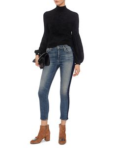 A.L.C.   Martine Turtleneck Pearl Puffed Sleeve Cropped Sweater in Black   Sweaters - IFCHIC