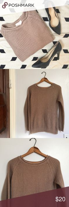 "Ambiance light brown knit pullover crew sweater - Size: M - Condition: excellent! Used item, inspected for quality. Any wear or use is shown in photos  - Color: light brown  - Pockets: no - Lined: no - Closure: pull-over - Extra notes:   *Measurements:  Bust: 19"" flat Length: 25.5""  Bundling is fun, check out my other items! Home is smoke free & cat friendly. No trades, holds, or negotiations in comments. Ambiance Apparel Sweaters Crew & Scoop Necks"