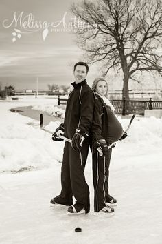 A hockey-themed winter maternity session with Melissa Anthony Photography in Cobourg, Ontario