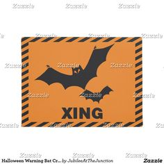 Halloween Warning Bat Crossing Doormat