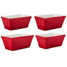 404945+767 Color: Red Features: -Oven safe. -Dishwasher safe. -Freezer safe. -Microwave safe. -Made of solid porcelain with a white glaze that compliments any household's decor. Capacity in Ounces: -9 Ounces. Color: -White. Product Type: -Mini Loaf Pan. Number of Items Included: -4.... - http://kitchen-dining.bestselleroutlet.net/product-review-for-4-piece-mini-loaf-pan-set-set-of-4-color-red/